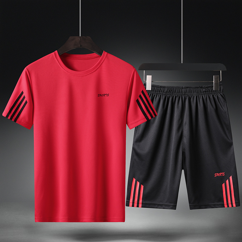 2019 Summer New Style MEN'S Sports Suit Crew Neck Short Sleeve Shorts Men Breathable Quick-Dry Sports Men'S Wear