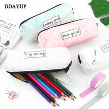 Marble Pencil Case Pattern Leather Pen Bag Pencil Box Pencil Case Stationery Pouch Office School Supply cute sumikko gurashi pencil bag for school big capacity pencil case stationery pouch estuche school office supply zakka
