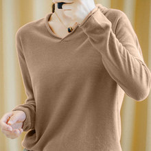 Smpevrg 19 100% cotton knitted sweater female pullovers V-neck long-sl
