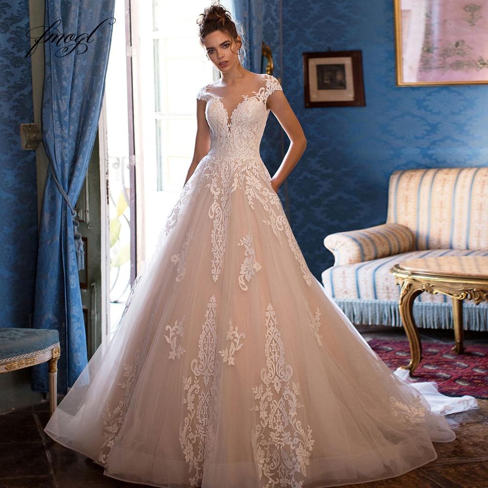 Fmogl Sexy Illusion Scoop Neck Lace A Line Wedding Dresses 2020 Luxury Appliques Cap Sleeve Court Train Vintage Bridal GownsWedding Dresses   -