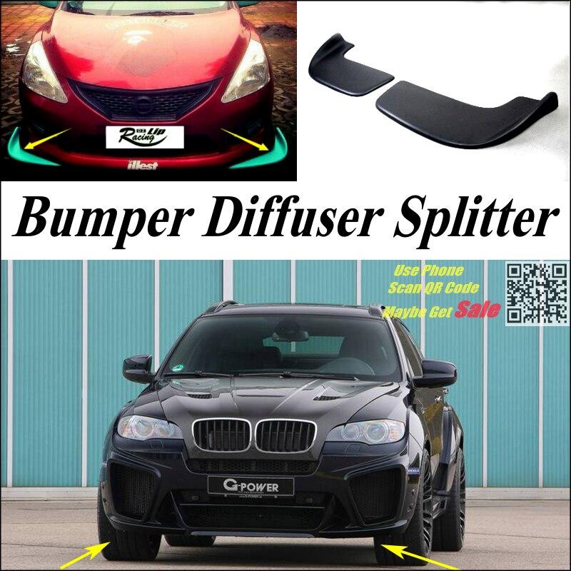 PU Splitter Diffuser Bumper Canard Lip Tuning Body Kit Front Deflectors US store