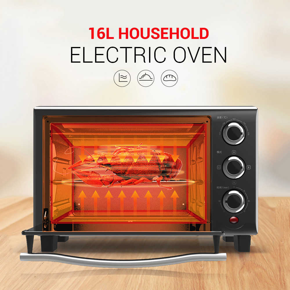 High Quality 16L Household Electric Oven 100 230 Deg.C Adjustable  Temperature 3 Heating Modes 6 Timing Options| | - AliExpress