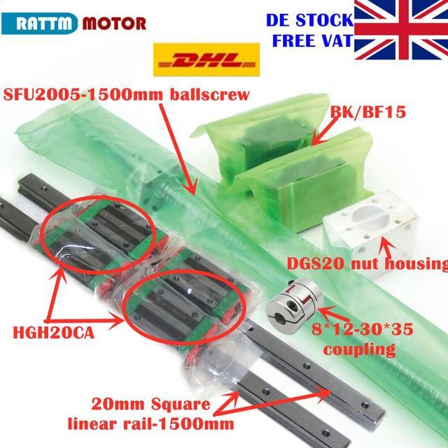 [EU STOCK/Free VAT] 20mm Square Linear Rail 1500mm+HGH20CA Carriages+SFU2005 1500mm Ballscrew+BK/BF15+Nut housing+Coupling
