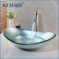KEMAIDI Bathroom Washbasin Countertop Tempered Glass Basin Sink Faucet Set Brass Waterfall Faucet Washroom Vessel Vanity Bar