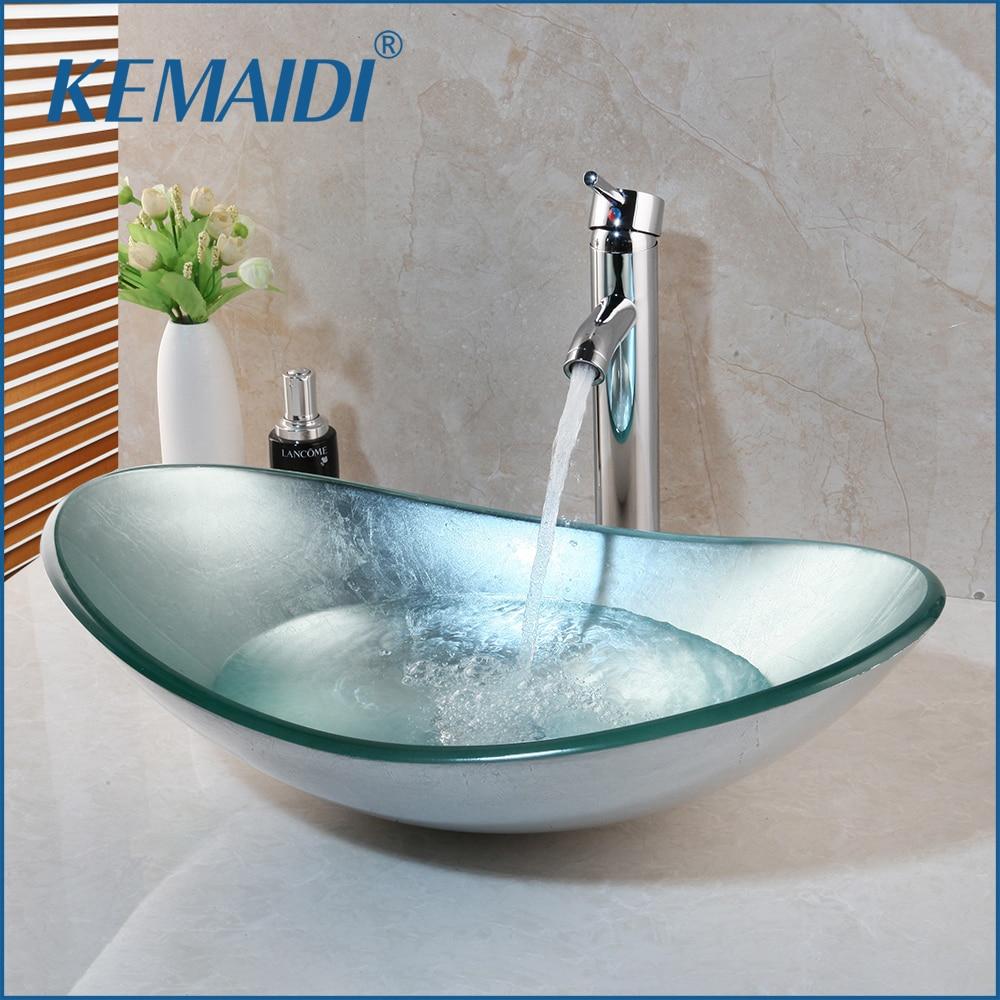 Lavello Bagno Da Appoggio us $127.9 40% di sconto|kemaidi bagno lavabo da appoggio bacino bacino di  vetro temperato lavandino rubinetto set rubinetto in ottone cascata bagno