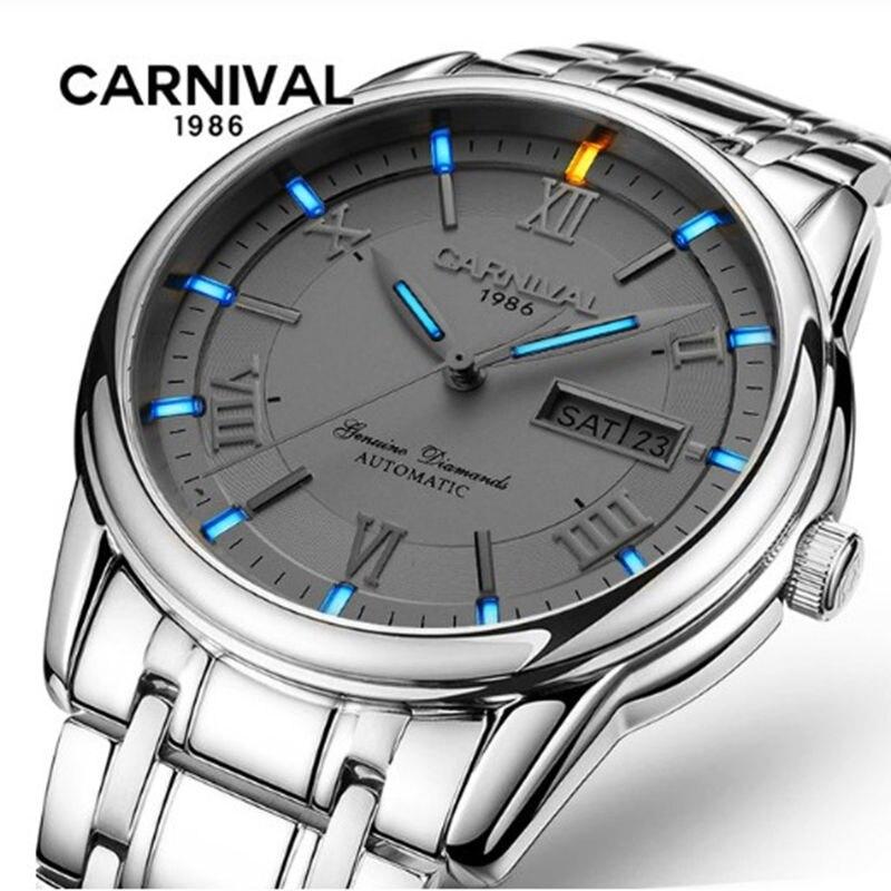 Karnawał tryt T25 świecenia podwójne kalendarz wojskowy automatyczne mechaniczne zegarek luksusowej marki mężczyzn zegarki wodoodporny zegar uhr w Zegarki mechaniczne od Zegarki na  Grupa 1