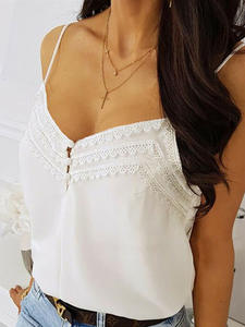 Backless Vest Blouse Tank-Tops Camisole Lace Patchwork Casual Crop Female Sexy V-Neck
