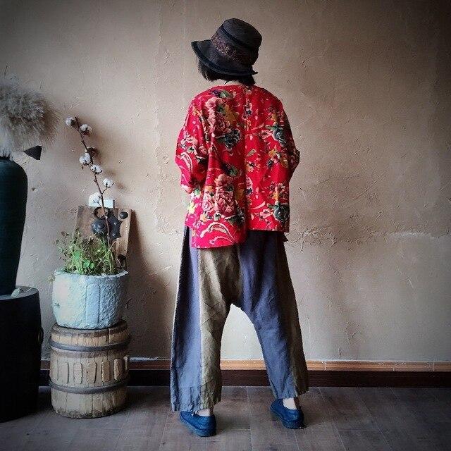 Women Loose Printed V Neck Irregular Length Blouse Tops Ladies Vintage Print Cotton Linen Tops Shirt Female 2020 Blouses 6