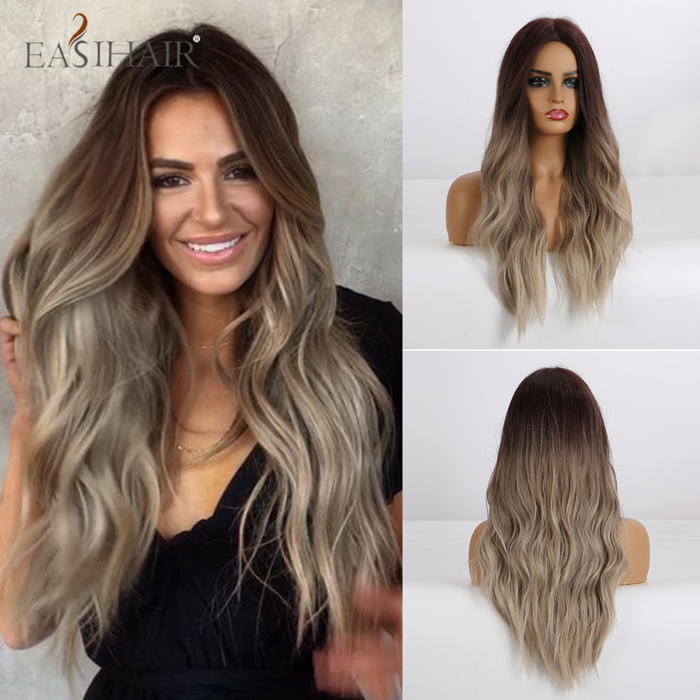 EASIHAIR Long Water Wave Brown Blonde Ombre Synthetic Wigs Female Middle Part Heat Resistant Wigs For Women African American
