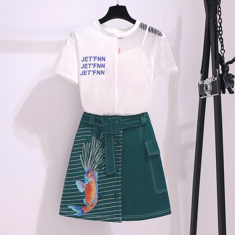ICHOIX 2 Piece Summer Outfits Elegant Women Two Piece Set Mesh Patchwork Blouse Korean Style Tops And Skirt Set Girl Suits