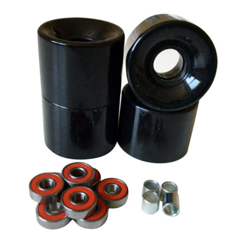   A Set Of 4 Skateboard Wheels 60mm 78A Black+ABEC- 9 Bearings+ Spacers