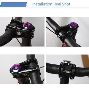 Image 4 - KRSEC Aluminium Vorbau MTB Mountainbike Stem potence velo Titan Schrauben Farben Lenker Short Stem für 28,6mm Fahrrad Gabel