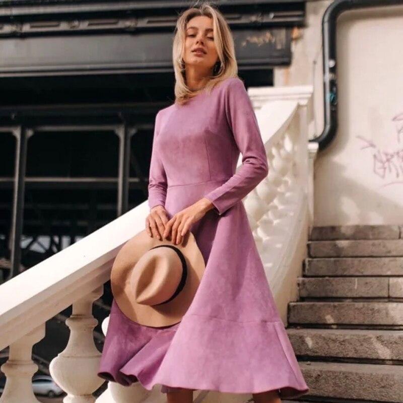 Женское длинное Замшевое платье Fasihon, элегантное платье трапеция с круглым вырезом, длинным рукавом и эластичной талией, Повседневная однотонная теплая одежда для осени, 2020|Платья| | АлиЭкспресс