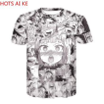 Ahegao T Shirt 2021 Anime Top Short Sleeved Fashion Hip Hop Fun Casual Summer Men and Women Clothes 3D Print image
