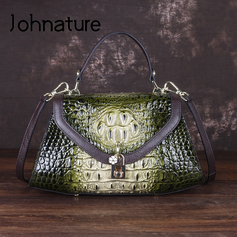 Johnature Retro Alligator Pattern Genuine Leather Women Handbags 2020 New Leisure Cowhide Large Capacity Shoulder&crossbody Bags