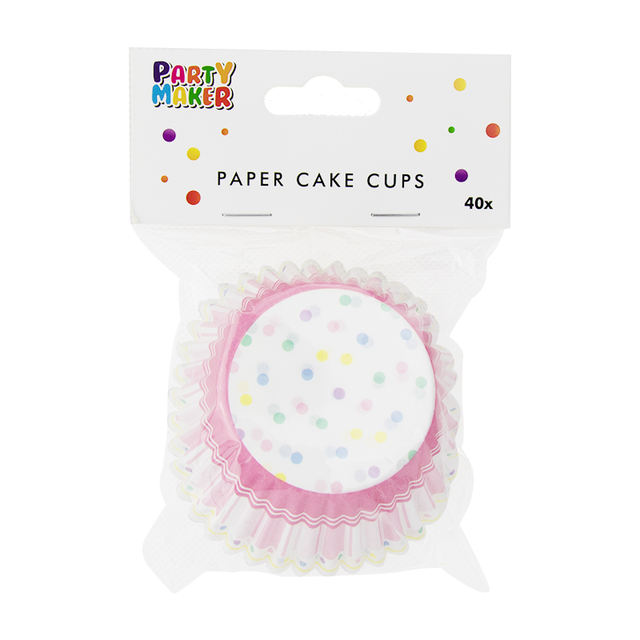 Pink Dot Printed Cupcakes Baking Bowl Set 40 Pcs