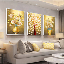 Deer and Gold Rose Flower Tree Artwork Modern Posters Prints Abstract Paintings Nordic Style Wall Picture for Living Room Decal(China)
