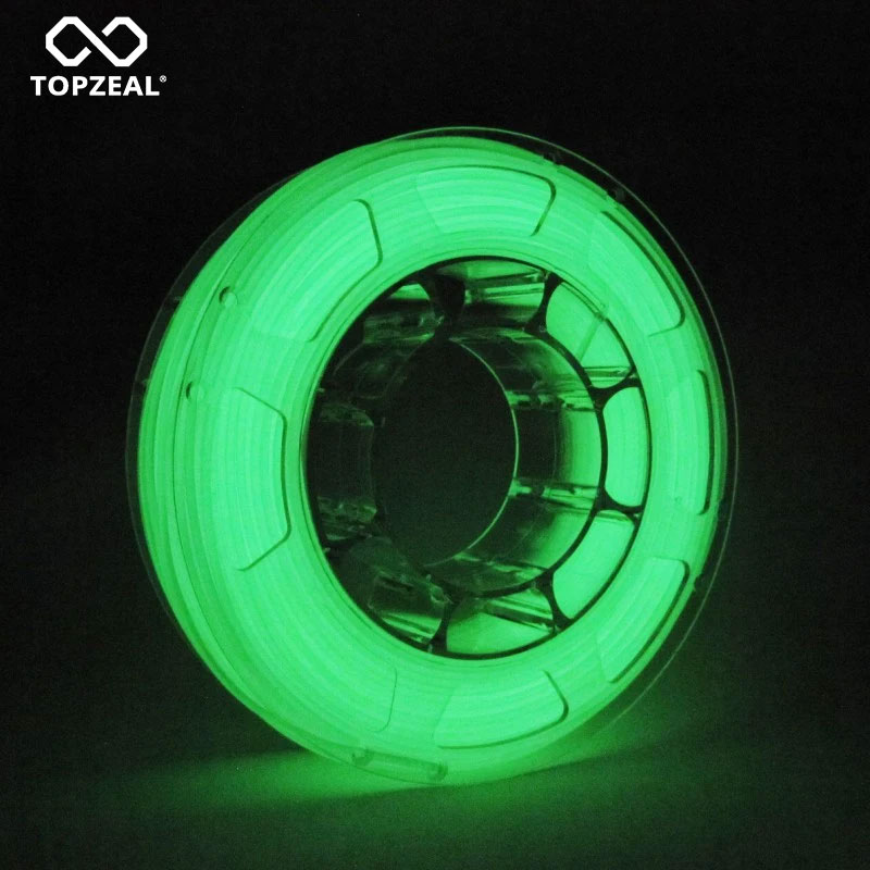 TOPZEAL Glow Green Color In The Dark 3D Printer PLA Filament Dimensional Accuracy +/- 0.05mm PLA 1KG Spool Luminous Green Color