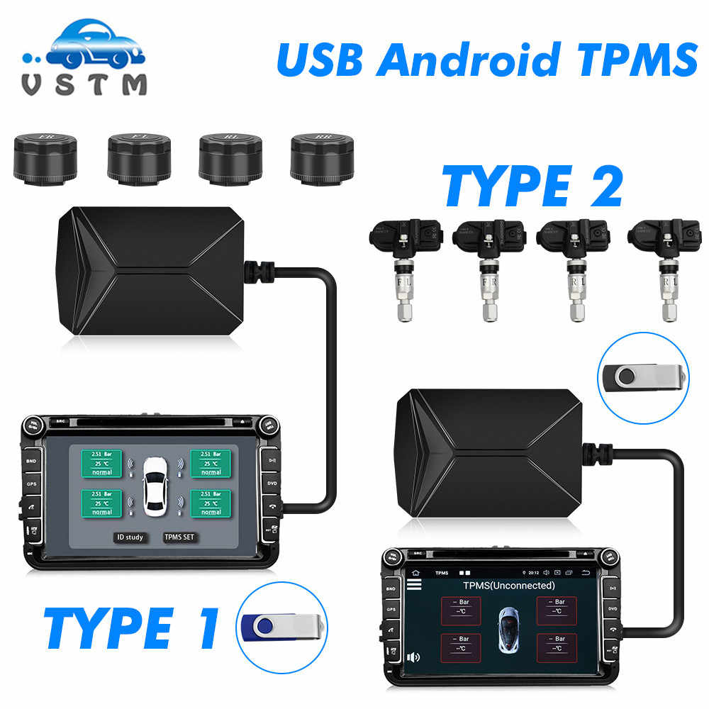 VSTM TPMS Car Tire Pressure Alarm Monitor System Display Intelligent Temperature Warning with 4 sensors