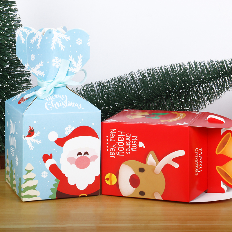 5pcs Christmas Gift Box With Rope Christmas Decor For Home Navidad Natal Candy Box New Year Santa Claus Gift Paper Box Kerst