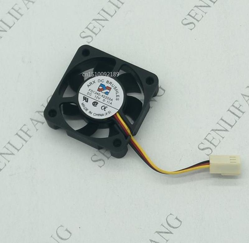 For ARX FD1240-A2233A DC 12V 0.11A 40x40x10mm 3-wire Server Square Fan