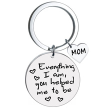 Stainless steel military keychain English lettering round card everything titanium DAD MOM heart-shaped