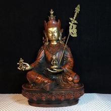 12″ Tibet Buddhism Temple bronze Gilt Real gold Guru Padmasambhava Buddha Statue Lotus statue Padmasambhava Buddha Statue