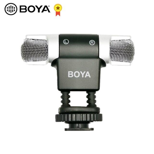 BOYA BY MM3 micrófono de condensador de grabación estéreo de doble cabezal para iPhone 8, Android, teléfono inteligente, cámara DSLR, vídeo de transmisión DV