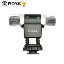 Boya BY MM3 microfone estéreo com gravação, cabeça dupla, condensador, para smartphone iphone 8, android, dslr, câmera dv, vídeo de gravação