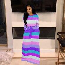 Echoine Striped Print Long Sleeve Dress Slim Elegant Maxi Dresses with sash Pocket Casual Vintage Vestidos Femme Robe