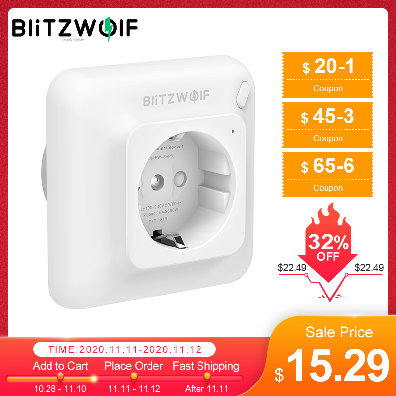 BlitzWolf BW-SHP8 3680W 16A Smart WIFI Wall Outlet Socket Timer Remote Control Power Monitor work with Alexa Google Assistant
