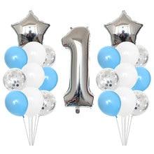 Globos azules plateados para primer cumpleaños, láminas con números para globos, banderines para primer cumpleaños de bebé, suministros My 1 año, 21 Uds.