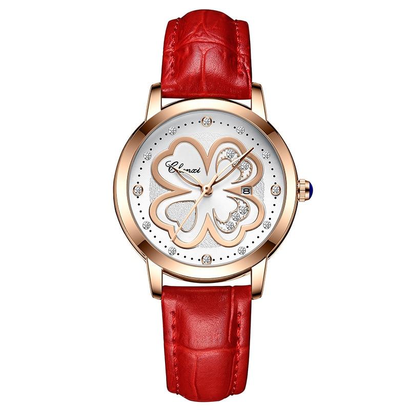 Mode Gunine cuir femmes montres couleur rouge cadran en or Rose élégant dame montre-bracelet strass 4 feuille herbe décontracté fille horloge