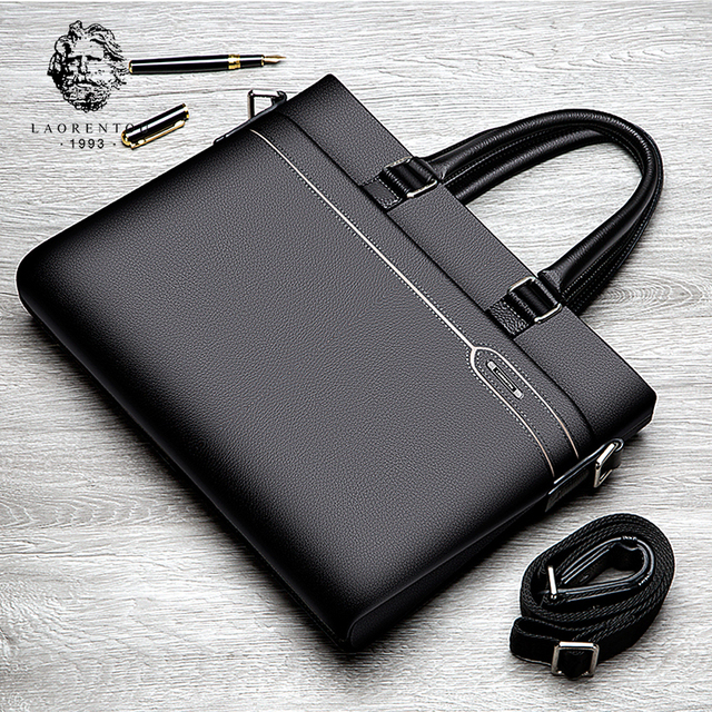LAORENTOU Men's Genuine Leather Business Laptop Briefcase Handbag Shoulder Messenger Bag Man Quality Leather Notebook Briefcases