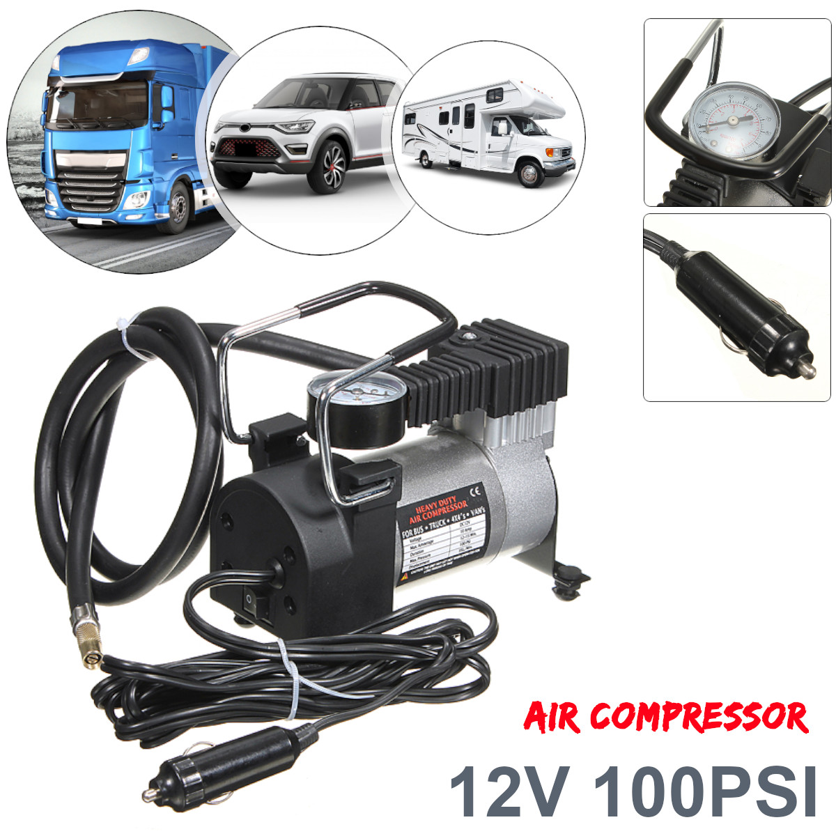 12V 100PSI Electronic Digital Portable Car Wheel Tire Inflatable Pump Inflator Air Compressor Inflating Machine