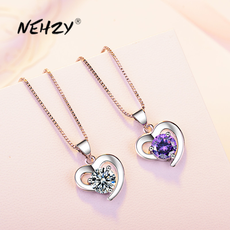 NEHZY 925 Sterling Silver New Woman Fashion Jewelry High Quality Purple Crystal Zircon Simple Heart Pendant Necklace Length 45cm