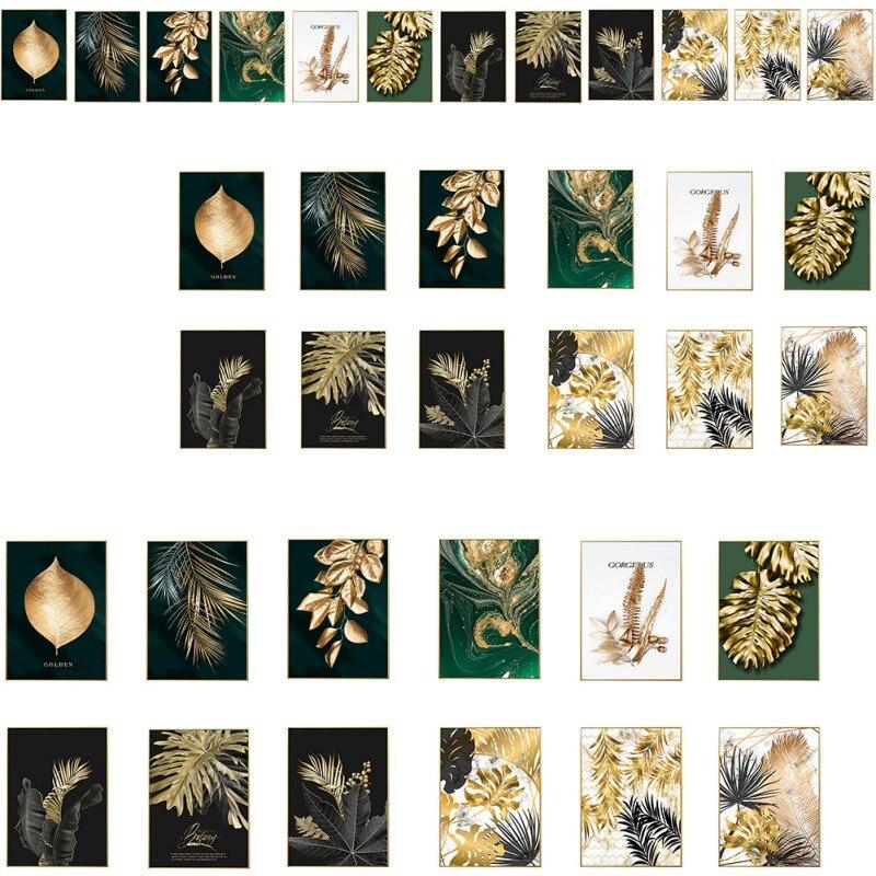 Hojas imagen planta dorada hojas foto póster Mural pintura estampada moderna arte pasillo sala de estar Decoración Nuevo ramo Artificial de hojas de palma Tropical plantas de simulación hogar balcón jardín decoración de paisaje Accesorios