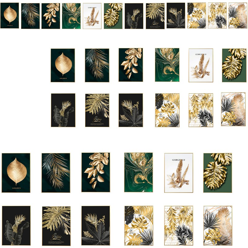 Leaves Picture Golden Plant Leaves Photo Poster Mural Modern Print Painting Art Aisle Living Room Decoration