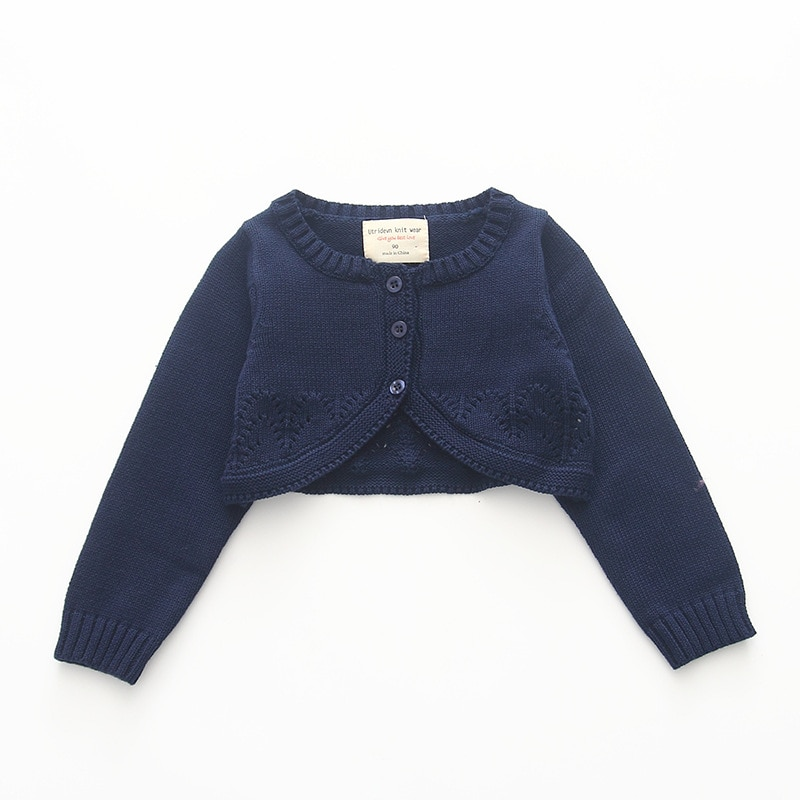 Navy Blue Baby Girls Sweater Cardigan Cotton Jackets Outerwear Baby Girls Coat Kid Clothes for 1 2 Year Old 195105