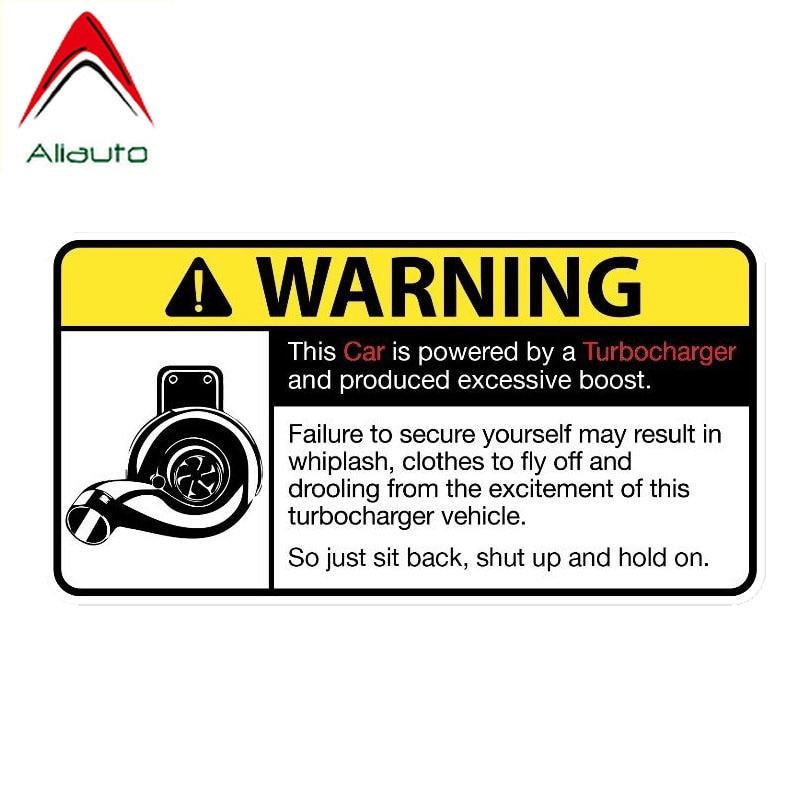 Предупреждающая Автомобильная наклейка Aliauto, автомобиль питается от турбокомпрессора, наклейка, аксессуары из ПВХ для Nissan, Suzuki, Volvo, Vw Civic,14 с...