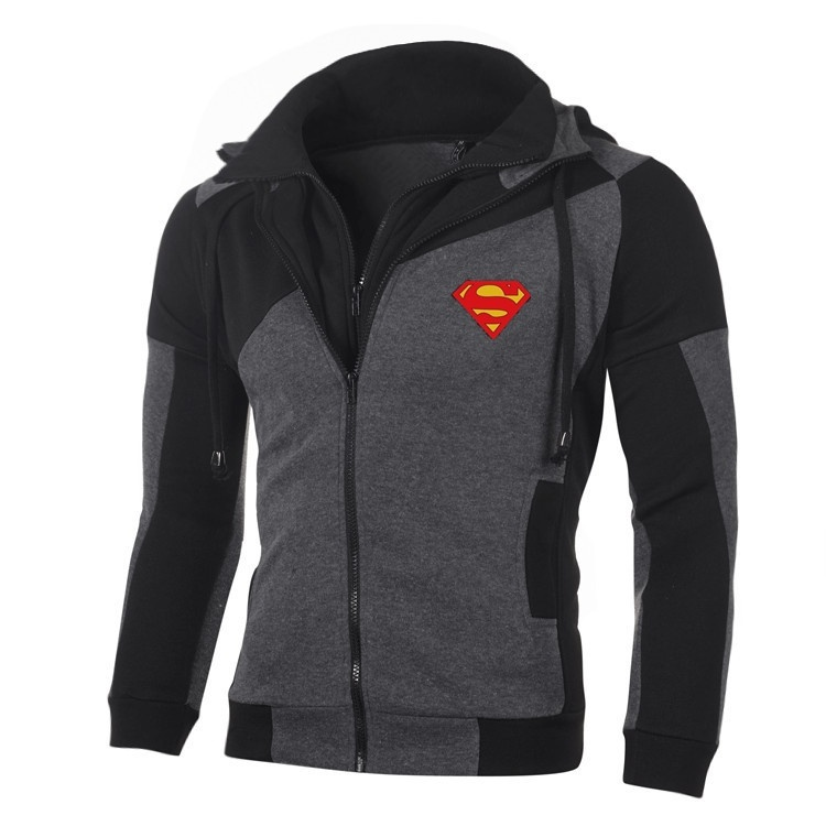 Spring Autumn Fashion Superman Sweatshirt Double Zipper Coat STAR Batman Jacket Hoodie Cotton Sweatshirts Outerwear