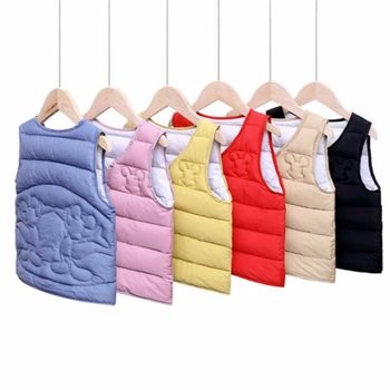 2020 New Baby Girls Down-Cotton Vest Coat for Children Kids Winter Warm Tops Clothes Autumn Boys Cartoon Waistcoat Outwear 2018 new style toddler baby girls winter down coat infants kids cotton jacket outwear kids clothes children clothing 10 12 years