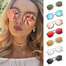 1pc Fashion Retro Round Sunglasses  Colorful Lens Metal Frame Woman Men Sun Glasses Round Gold Anti-UV400 Wholesale