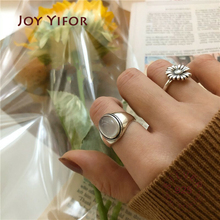 925 sterling silver adjustable rings for women Korean simple punk flower shape ring set statement hip hop fine jewelry