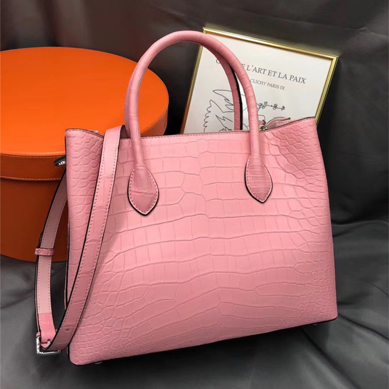 Authentic Exotic Crocodile Belly Skin Women's Pink Purse Genuine Alligator Leather Lady Chic Handbag Female Single Shoulder Bag