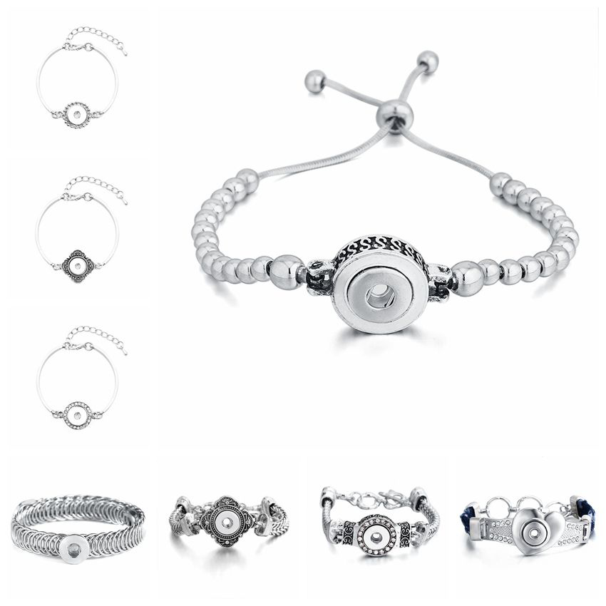Adjustable Alloy Snap Bracelet Fit 12mm Snap Buttons For Men Women Jewelry image