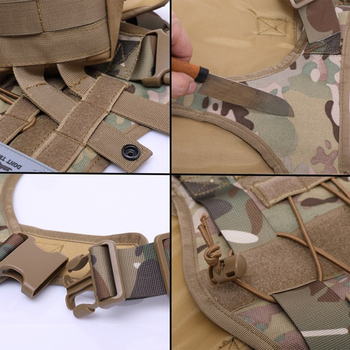 Tactical Service Dog Vest Breathable military dog clothes K9 harness adjustable size Training Hunting Molle Dog tactical Harness 3