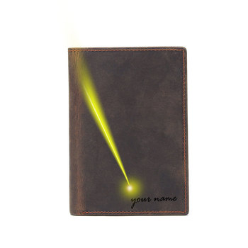 free name logo picture engraving top layer passport wallet card holder 14.5x10cm