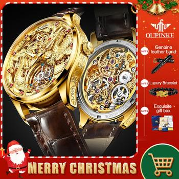 100% Real Tourbillon Watch Mechanical Leather OUPINKE Men Watches 2020 Luxury Cool Sapphire Watch For Men Montre Tourbillon 3177 luxury brand men mechanical watch alloy pin buckle stainless steel watch tourbillon fashion trend square leather men s watch