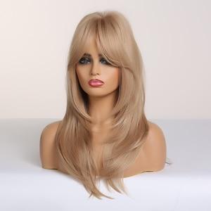 Image 3 - Alan Eaton Blonde Synthetische Pruik Met Pony Lange Golvende Pruiken Voor Vrouw Cosplay Party Pruik Daily Valse Haar Hittebestendige fiber